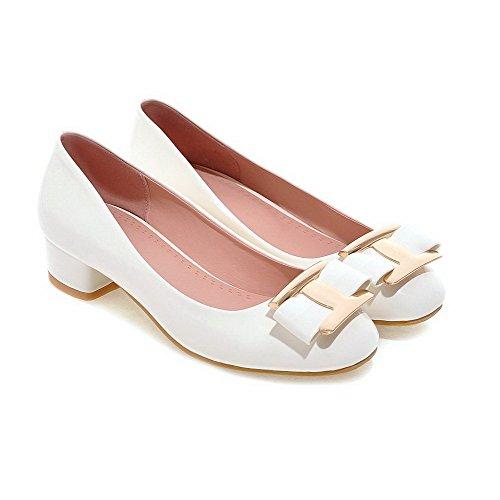 VogueZone009 Femme Carré à Talon Bas Verni Mosaïque Tire Chaussures Légeres Blanc