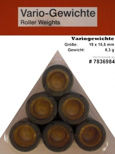 Variomatik Rollen Gewichte 19x15 5 mm 8 3 g für Roller Aprilia SR 50 Street Piaggio Motor