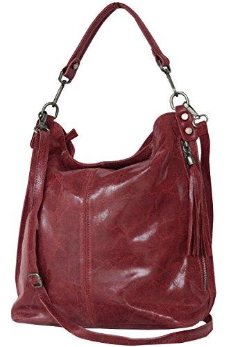 Shopper borsa, borsa a tracolla, Mod. 2106 pelle Italy Red