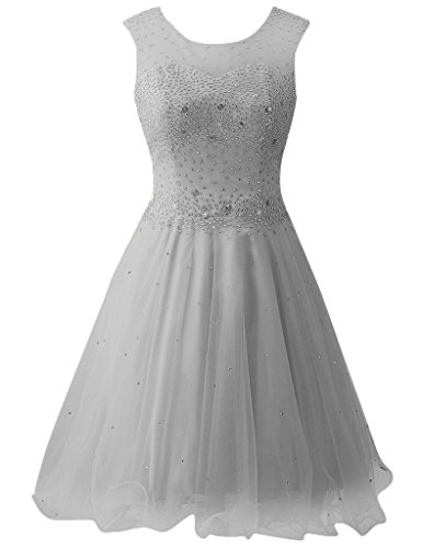 HUINI Damen Modern Kleid Grau