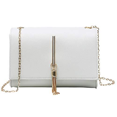 VJGOAL Schultertasche Damen Umhängetasche Messenger Mode Einfarbig Quaste Kette Klein Mini Quadratisches Paket Frau Geschenk -