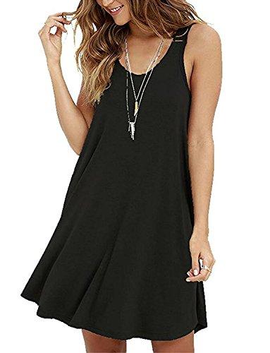 Damen Ärmelloses Casual Loose T-Shirt Kleid