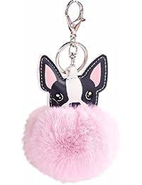Llaveros de Perro Animal Lindos, Holacha Anillo de Llave de Piel de Conejo Colgante para Mujer Chica Accesorios de Teléfono Coche Bolsos