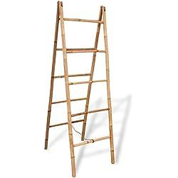 vidaXL doble toalla escalera con 5peldaños bambú 50x 160cm