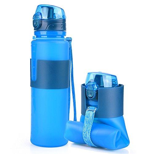Kitchengossips Basics Collapsible Silicone Blue Sports Water Bottle - Leak Proof - BPA Free