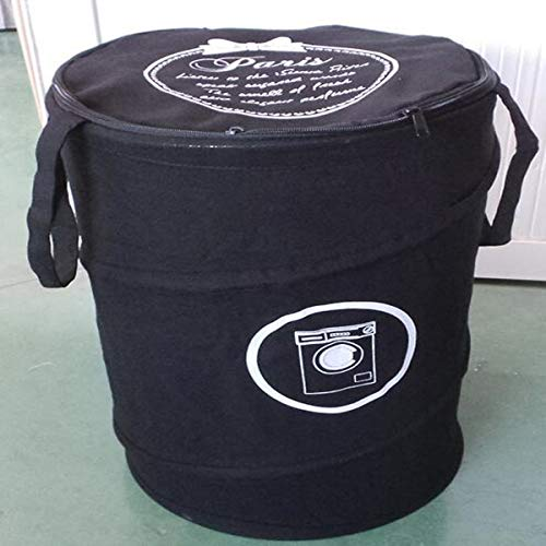 Große Pop-Up Wäschekörbe Kordelzug wasserdichte runde Baumwolle Leinen Faltbare Ablagekorb (Multicolor) Schwarz 35X50CM -