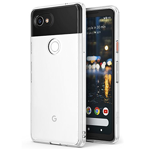 Ringke Google Pixel 2 XL Hülle, [Fusion] kristallklarer PC TPU Dämpfer (Fall geschützt/Schock Absorbtions-Technologie) für Das Google Pixel 2 XL - Kristallklar (Clear)