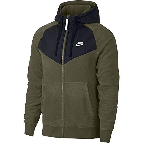 Nike Core - Felpa da Uomo con Cappuccio e Zip Intera, Uomo, 929114, Olive Canvas/Black/White, M
