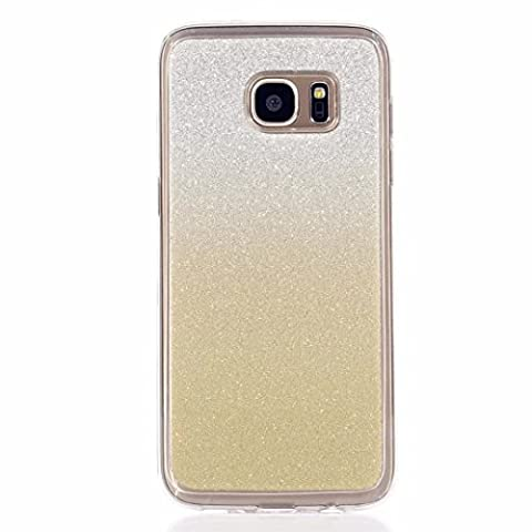 MUTOUREN Apple Samsung Galaxy S7 Edge Transparente Coque Etui Housse TPU Silicone Gel Case Cover Creative Motif Clair Skin Shell Hull Ultra-Light Ultra-Thin Premium Cas Sac Telephone Accessory Protection Totale AntiChoc Pare-Chocs Bumper Defender Couvrir Coverture Souple Invisible Cassette Parfait Fit Pratique Retour Back Cover Coquille -Paillettes Gradient