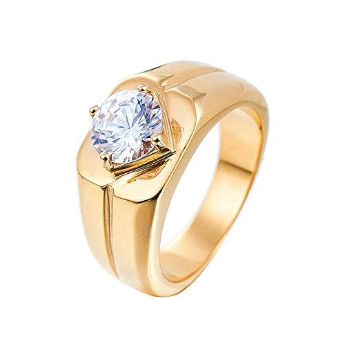 LOUMVE Edelstahlringe Herren Breit Einfaches Band Rund Zirkonia Vintage Ringe Herren Gold Größe 62 (19.7) (Topas Ring Blue Weissgold London In)