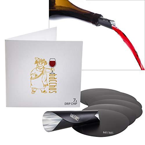 Bacchus® Drip Chip [7 Stück] Wein Disc - Ausgießer, Einschenkhilfe Weinzubehör - No Drop Tropfen Stop für Weinflaschen