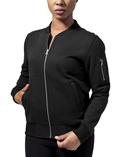 Urban Classics Damen Jacke Ladies Sweat Bomber Jacket, Schwarz (Black 7), 36 (Herstellergröße: S)
