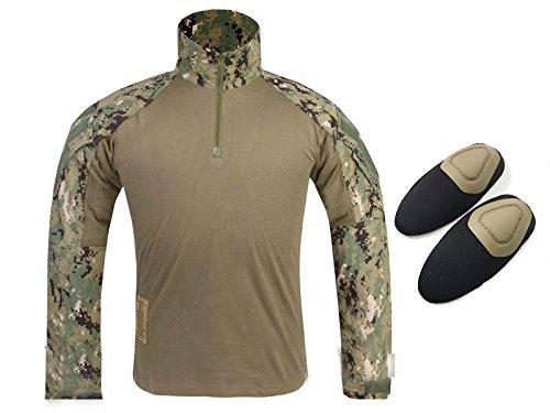 Tactical Army Military Shooting BDU Herren Gen3G3Combat Lange Ärmel Shirt mit Ellenbogenschoner für Airsoft Paintball Digital Woodland Aor2, Digital Woodland - Digital Woodland Bdu Shirt