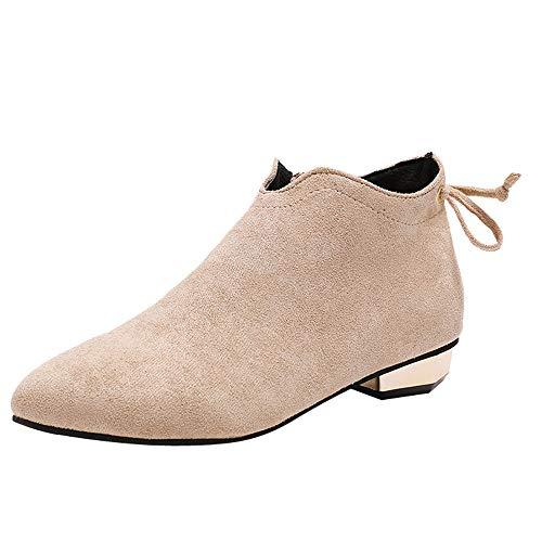 MYMYG Chelsea Boots Mode Frauen Spitz Niedrige Schuhe Wildleder Booties Zipper Bow Einzelne Schuhe Einfarbige Boots Ankle Boots mit Halbhohe Blockabsatz Freizeitschuhe