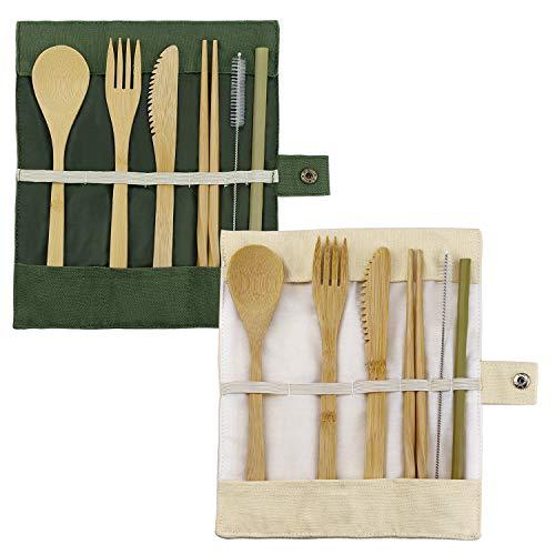 EMORE Bambus Besteck Set,E-More 2 Set Reise Besteck Set Wiederverwendbare Bambus Messer Gabel Löffel Stäbchen Strohhalme Mit Tasche,20cm