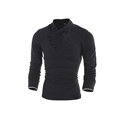 COCO clothing Herren Herbst Stehkragen Freizeit T-shirt Lange Ärmel Business Poloshirt Männer Einfarbig Slim Stretch Sweatshirt Pullover (M, Schwarz)