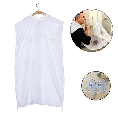 Prevently Haken Rasur Tuch Schal Schürze für den Mann der Haar-Ausschnitt-Fänger pflegt, der Kap-Schürze schürzen Halten Sie Wanne sauber (Weiß)