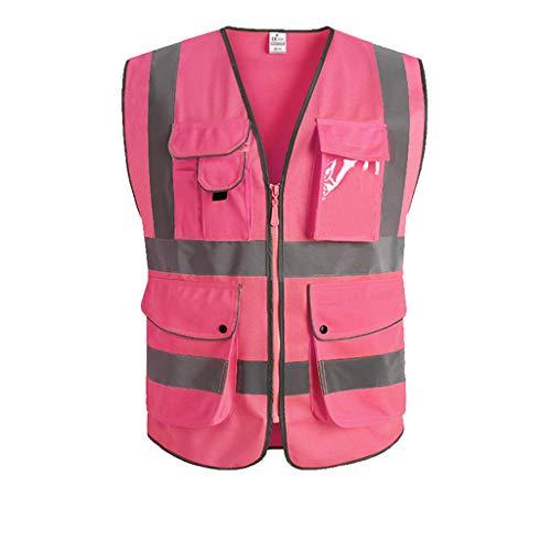 Hohe Sichtbarkeit Overall (SXY Hohe Qualität Hohe Sichtbarkeit Reflektierende Weste Overalls Motorrad Sport Outdoor Reflektierende Sicherheitskleidung (Color : Pink, Größe : L))