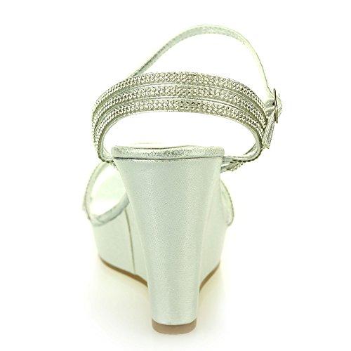 Frau Damen Offener Zeh Fesselriemen Diamant Abend Hochzeit Party Abschlussball Braut Hohe Keilabsatz Sandalen Schuhe Größe Silber