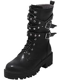 UH Damen Chunky Heels Stiefeletten Schnür Ankle Boots mit Blockabsatz und  Nieten Schnalle Bequeme Winter… b71866148d