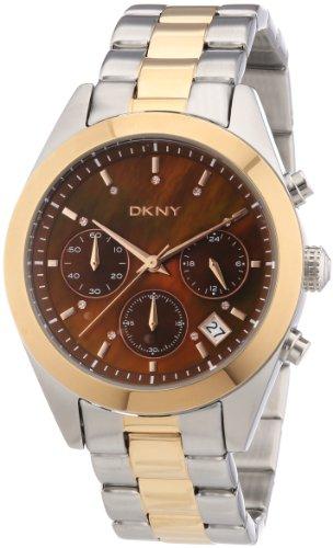 DKNY Nolita Chrono NY8515 - Reloj cronógrafo de cuarzo para mujer, correa de acero inoxidable chapado color plateado (cronómetro, agujas luminiscentes)