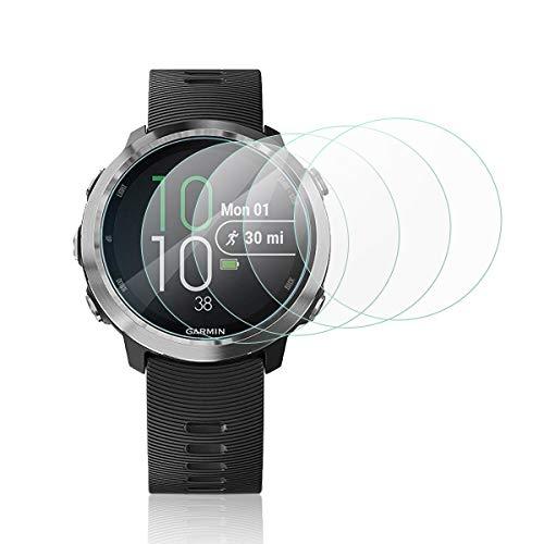 Mwoot 4 Stück Schutzfolie aus Glas für Garmin Forerunner 645, LG Watch Style, FOSSIL Gen 3 Smartwatch Q Explorist & ASUS Zenwatch 3,9H Härte Kratzfest Bildschirmschutzglas