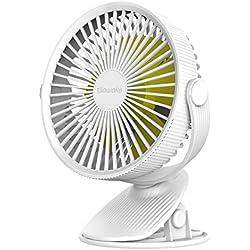 SAWAKE Ventilateur Clip Portatif, Mini Électrique Ventilateur de Bureau Silencieux avec 3 Vitesses Réglables, Rotatif à 360°, Vent Puissant, 2600mAh Batterie Rechargeable pour maison, extérieur, etc