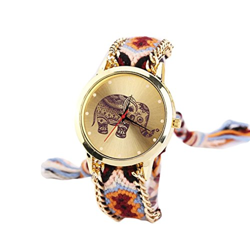 Geflochten Armbanduhren Günstige Uhren Wasserdicht Casual Elefant Muster gewebt Seil Band Armband Quarzuhr Coole Uhren Lederarmband Mädchen Frau Uhr (Orange) ()
