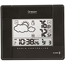 Oregon BAR-386 - Estación meteorológica inalámbrica con temperatura, aviso de hielo y reloj radio controlado, color negro