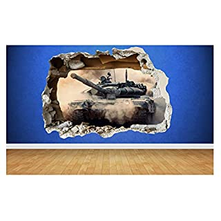Tanks Amazing Smashed Wall Amazing 3D Style Wall Sticker Kids Childrens Bedroom Vinyl Art (Design 1 Large (80cm x 58cm))