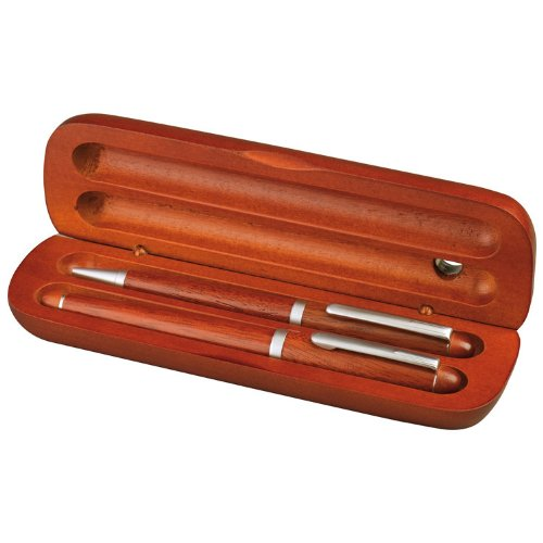 Elegant Wooden Writing Set Including Fountain Pen and GM-IT Ballpoint Pen