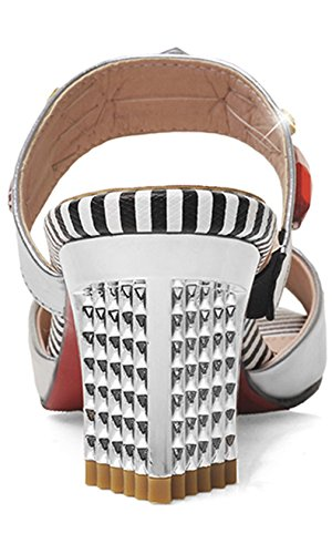 Cuckoo Frauen PU-Leder Kn?chelriemen -Slip on Sandalen mit Absatz Silber