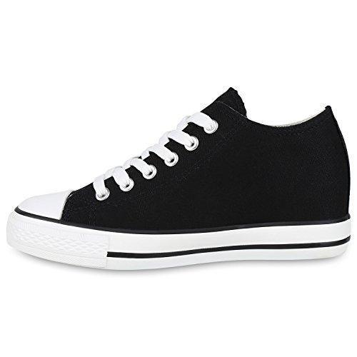 Stiefelparadies Damen Sneaker Wedges Keilabsatz Sneakers Glitzer Schuhe Zipper Wedge Turnschuhe Metallic Flandell Schwarz