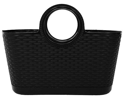 Ondis24 Mehrzwecktasche Tasche Tragetasche Strandtasche aus Kunststoff in Rattan-Optik