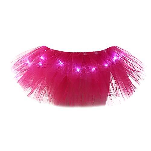TIFIY Damen Tüllrock Mode 5 Schichten Ballettrock Mit LED Kleine Lampe Party Abend Tutu Rock Solide Unterrock Netzrock Elegant Petticoat(pink,One Size