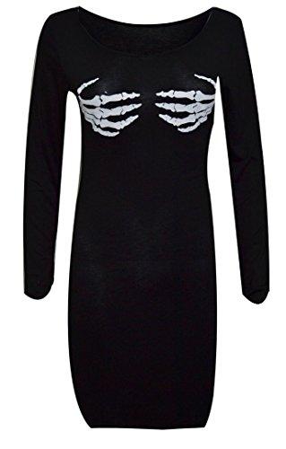 FK Styles Frauen Kleid lange Hülsen Halloween Schädel Hand Skelett Schwarz