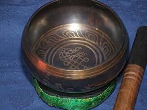 Alte Klangschale Nepal ca. 600gr. mit Kissen/Donut und Klöppel