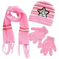 Zolimx Kinder häkeln Hut Fell Wolle Wollmütze Waschbär Warm Caps + Schal + Handschuhe Anzug