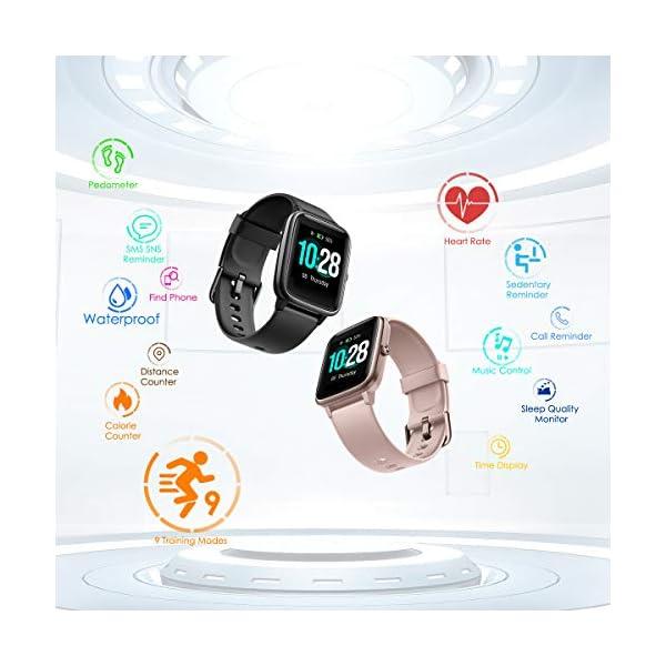 CHEREEKI Smartwatch Reloj Inteligente, Impermeable IP68 Pulsera Actividad con Ritmo Cardíaco, Reloj de Fitness con… 2