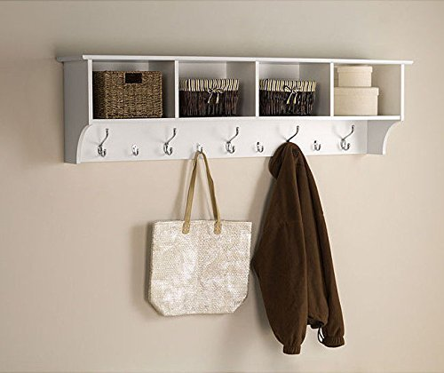White 5 Ft Entry Hall Shelf with 4 Cubby and 9 Hook Coat Rack. A Wall Mount Storage Hat Rack Makes a Convenient Space Saver That Keeps Your Entryway Organized. Use a Hanging Entryway Shelf to Reduce Clutter. by Winslow - 9 Cubby