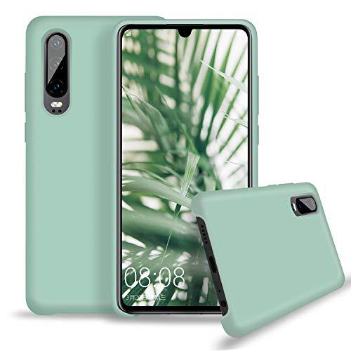 Huawei P30 Hülle Silikon, Abitku Ultra Dünn Flüssiges Stoßfest Handy Backcover Anti-Scratch Protective Hülle für Huawei P30 6.1 Zoll, Minze