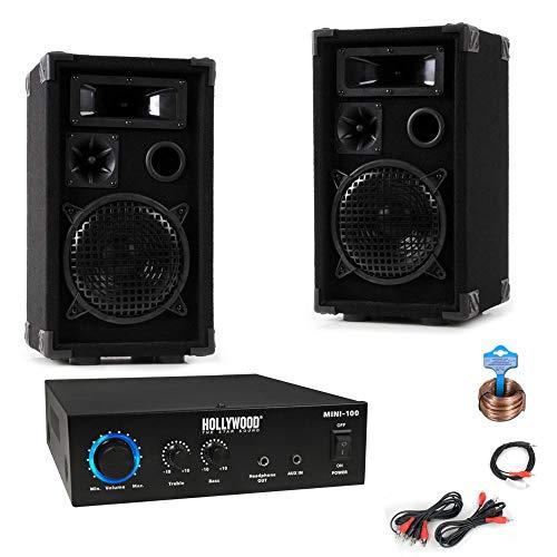 etc-shop Système de Musique Compact PA Party Keller Boîtier Amplificateur Câble Câble DJ -Mini