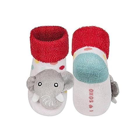 BABAR - Chaussettes d'éveil bébé avec hochet 3D antidérapantes BBKDOM
