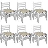 Festnight 6er Set Hölzerne Essstuhl Esszimmerstühle Klassisch Küchenstühle 44x45x81cm Viereckig für Esszimmer oder Küche - Weiß