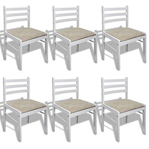 vidaXL Set 6 sillas de comedor madera con forma cuadrada, Blanco