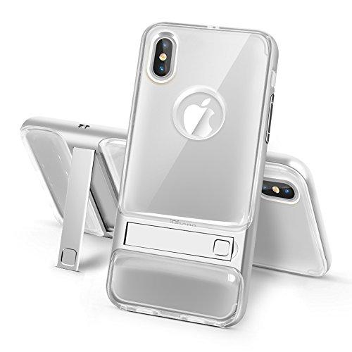 BCIT iPhone 8 Custodia - ibrida Morbido resistente agli urti + Bumper Frame Dual Layer Case con Supporto di protezione per iPhone 8 - Trasparente Rose Oro Trasparente & Argento