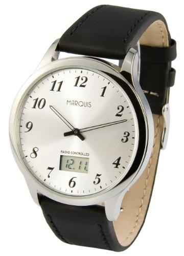 MARQUIS Herren Funkuhr, Edelstahlgehäuse, Armband aus echtem Leder, Armbanduhr, Junghans-Uhrwerk 964.6118