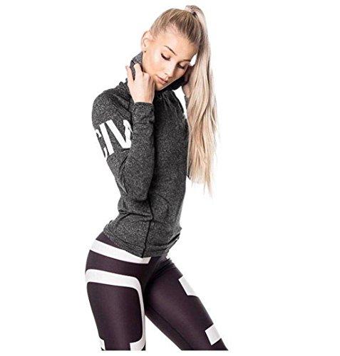 ZEZKT☀Frühling Sportkleidung Damen Set Top Lang Hülle Frauen Sport Trainingsanzug Fitness Outfits Outwear Valentinstag Hoodies Sport Fitness Workout (S, Dunkelgrau)