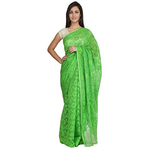 Tanya Green Hand Woven Bengal Pure Cotton Dhakai Jamdani Saree