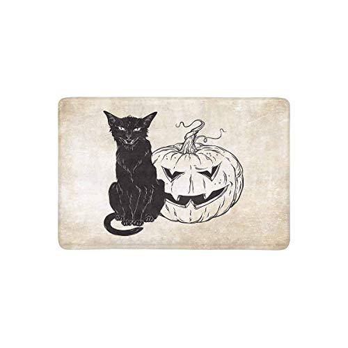 Schwarze Katze, die mit Halloween-Kürbis über Alter Schmutz-Papier-Fußmatte rutschfestem Innen- / Fußmatten-Boden-Mat Home Decor, Eingangs-Teppich-Gummirücken sitzt